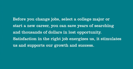 Before you change jobs, select a college major or start a new career, you can save years of searching and thousands of dollars in lost opportunity. Satisfaction in the right job energizes us, it stumulates us and supports our growth and success.